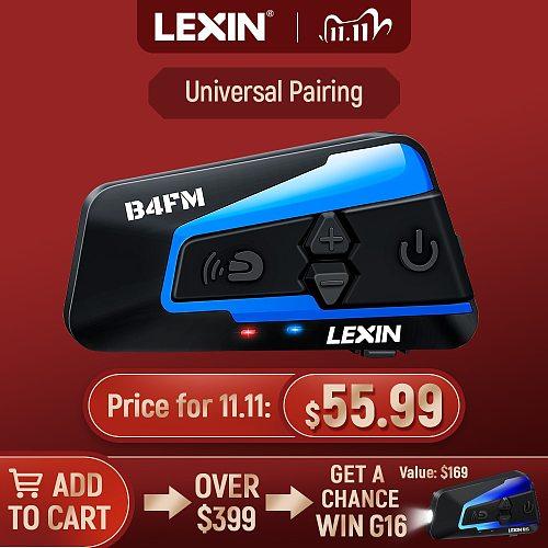 Brand Lexin LX-B4FM for 4 Riders Intercom Motorcycle Bluetooth Helmet Headsets BT moto intercomunicador with FM radio