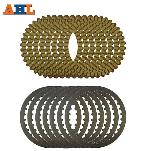 AHL Motorcycle Yellow Clutch Plates & Steel Friction Plate For Harley XL883 2004-2008 XL1200 1200X48 SPORTSTER 1991-2011