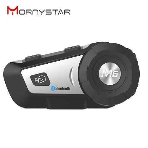 MORNYSTAR New M6 Plus BT Interphone Motorcycle Helmet Wireless Bluetooth Headset Intercom with  FM Radio Soft Headphone