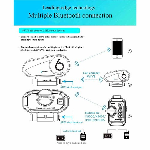English Version  Vimoto V6 Motorcycle Helmet Headset Bluetooth Stereo Headphone Multipoint Connection BT Interphone