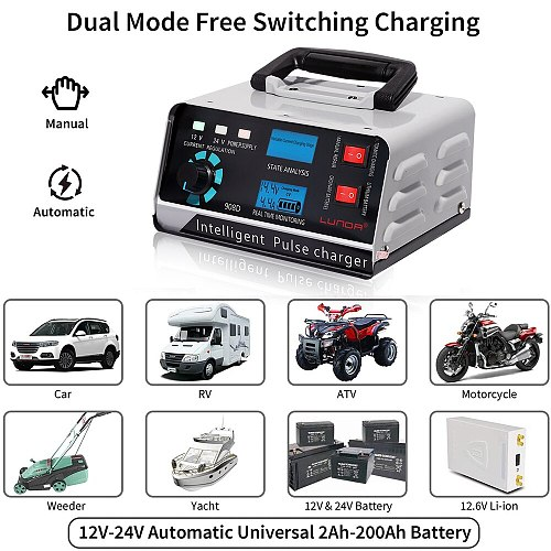 LUNDA Smart Battery Charger 12V/24V Automotive Battery Charger Maintainer 400Ah Trickle Charger for Car Truck Boat Motorcycle RV
