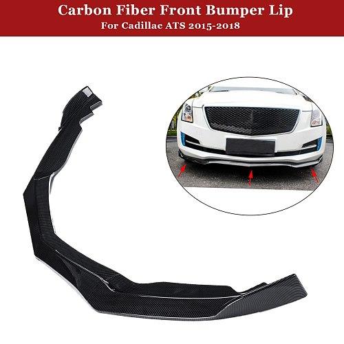 3PCS Carbon Fiber Style Front Bumper Lip Cover Trim Car Front Bumper Cover For Cadillac ATS 2015-2018