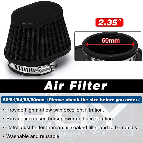 Free Shipping Motorcycle Air Filter 51mm 55mm 60mm Universal for Motorcycle & Racing Car Sport Air Intake Filter