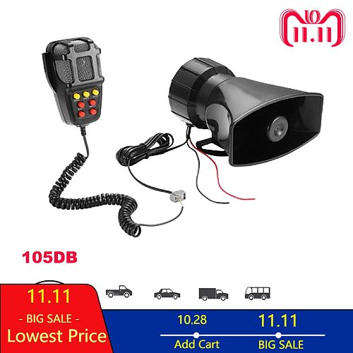 Car Horn Police Speakers  Siren Air Tone Sound 12V 100W Cry Megaphone Alarm Emergency Amplifier Hooter Motorcycle Ural Ambulance