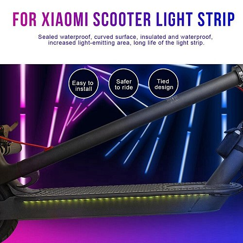 Durable Foldable LED Strip Lights for Xiaomi M365/M365 Pro Electric Scooter Accessories, Light-Up Colorful Scooter M365 Parts