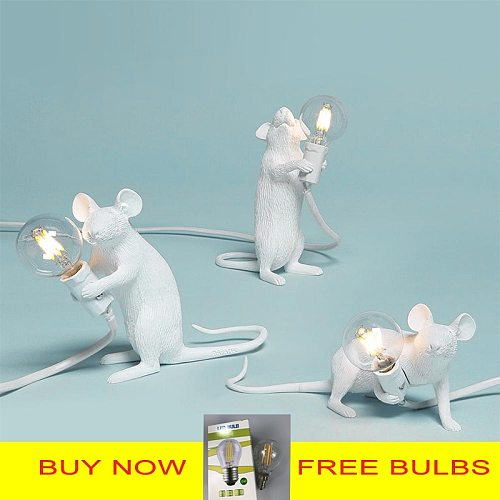 Postmodern Resin Animal Rat Mouse Table Lamp Small Mini Mouse Cute LED Night Lights Home Decor Desk Lights Seletti Bedside Lamp