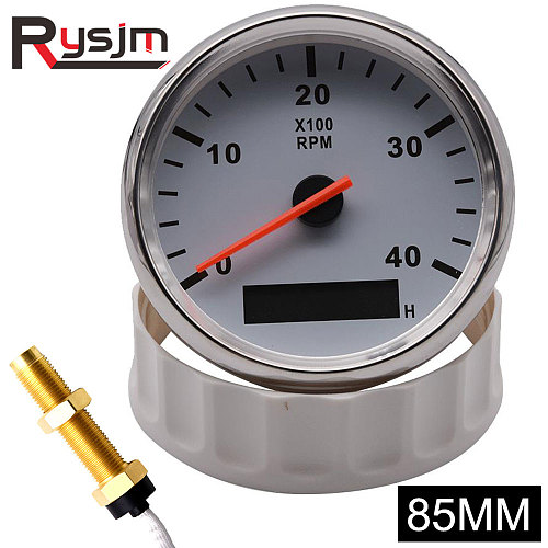85mm tachometer + sensor Car Boat Tacho Marine Tacho Meter with LCD Hourmeter 4000 RPM Boat Tachometer 12V/24V Red Backlight