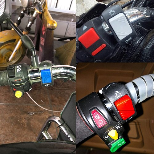 22mm Motorcycle On-Off Switch Push Button Handlebar Switches 12V ATV Electronic Bike Scooter Motorbike Bullet Connector Parts