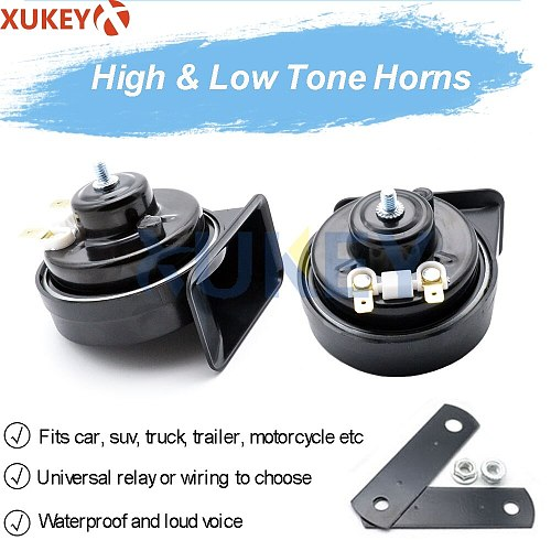410/510Hz For Car Motorcycle Truck Van Dual Pitch Universal Snail Horn With Relay Wiring Harness 12V 110-125db Loud Waterproof