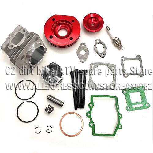 44mm Cylinder Assy Big Bore 44-6  Kit Set 2 Grooves For 47cc 49cc Mini Dirt ATV Pocket Bikes Minimoto