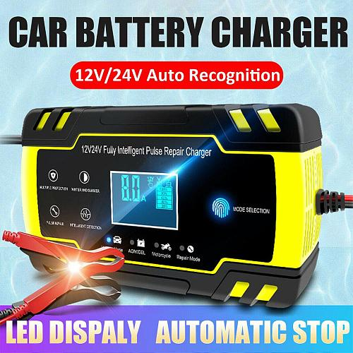 Intelligent Battery Charger 12V Car Charger Automatic Pulse Repair Charger Duarable Motorcycle Battery Charger Touch Key Display