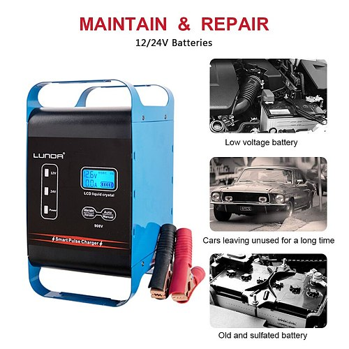 12/24V Fully Automatic Battery Charger 20Amp Battery Maintainer, GEL Lead-Acid Lithium Motorcycle Auto Power Supply