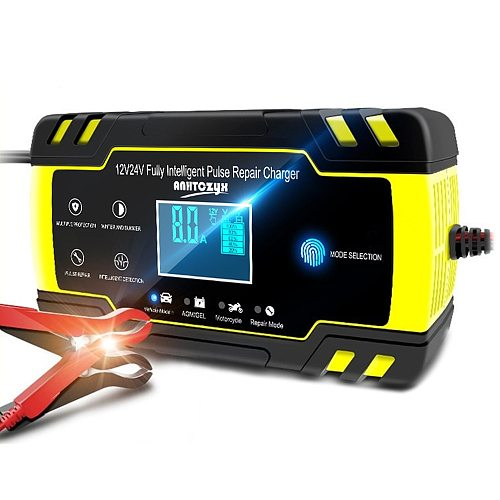 Car Battery Charger 12/24V 8A Touch Screen Fully Intelligent Pulse Repair Chargers Wet Dry Lead Acid LCD Display