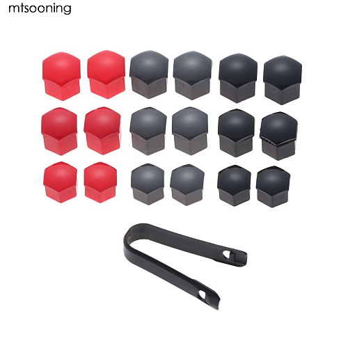 20Pcs Universal Anti-Rust 17/19/21mm Black Gray Red Glossy Auto Trim Tyre Wheel Nut Bolt Protection Covers Caps W/ Removal tool