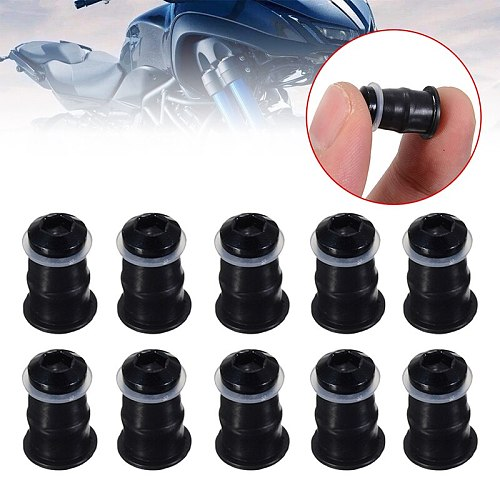 Motorcycle Windscreens & Wind Deflectors 10pcs M5x16mm Screws Black M5 Rubber Nuts Neoprene Set 5mm