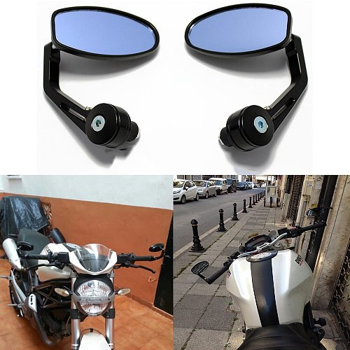 evomosa Black 7/8  Handlebar End Mirrors Oval Custom Classic Side Mirrors Chopper Bobber Cafe Racer ATV Quad Rearview Mirrors