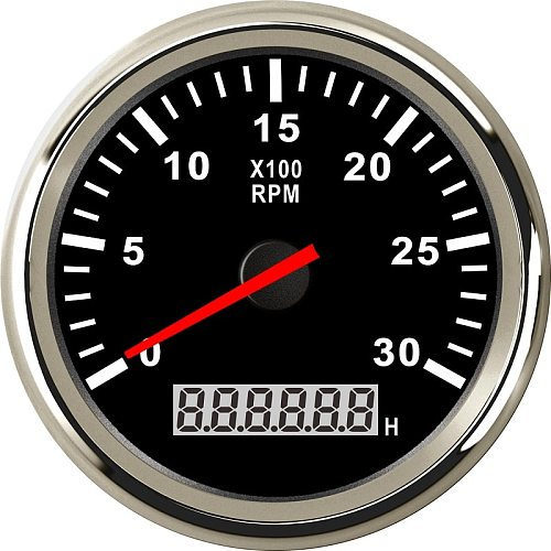 New 3-8K RPM Tacho Tachometer Gauge REV Counter With Hour meter 85mm Gasoline Diesel 12V 24V Red Backlight
