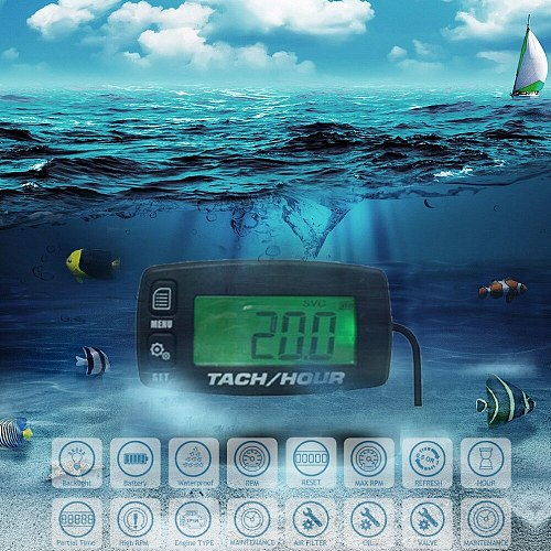 Tach hour meter Motorcycle Meter Digital Tachometer Engine Resettable Maintenace Alert RPM Counter for Chainsaws Boats ATV