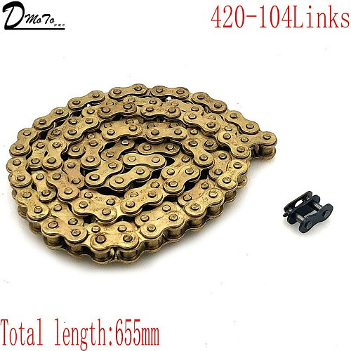 Gold 428 102/104/108 links GOLD O-RING chain 110-150cc dirt bike/pit bike 420 Chain Gold For CRF 50 70 SSR Pit Dirt Bike