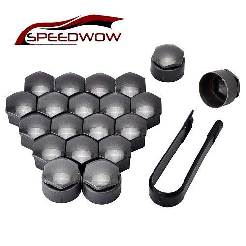 SPEEDWOW 16 Nut Caps 4 Antitheft Nut Caps Car Wheel Auto Hub Screw Cover Wheel Nut Bolt Cover Cap For Volkswagen Golf MK4 Audi