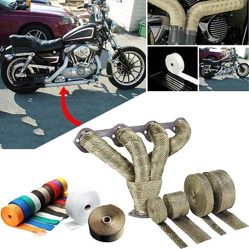 5M Roll Fiberglass Heat Shield Motorcycle Exhaust Thermal Tape Header Pipe Heat Wrap Tape Thermal Protection with Stainless Ties