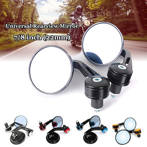 2pcs Universal 7/8  Round Bar End Rear Mirrors Moto Motorcycle Motorbike Scooters Rearview Mirror Side View Mirrors