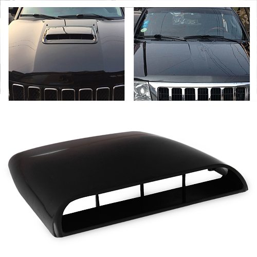 CITALL Black / White / Grey 1pc Car Universal 4x4 Air Flow Intake Hood Scoop Vent Bonnet Decorative Cover Decal
