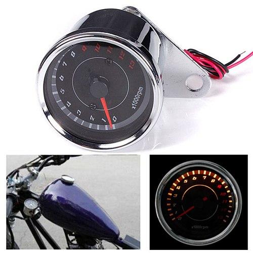 12V 60mm Silver Motorcycle Speedometer Tachometer Odometer Rev Counter 0-13000 RPM