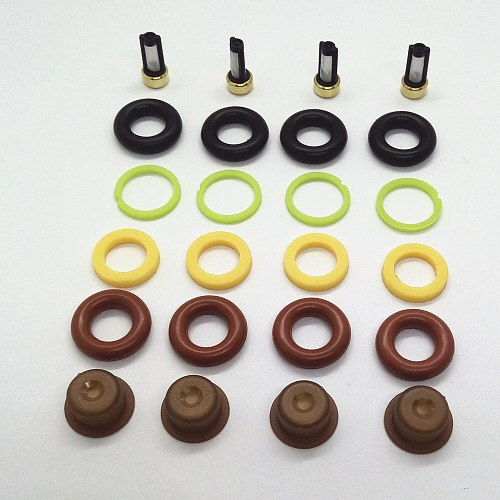 Wholesale 4 Sets Fuel Injector Repair Kits Fit for Bo*Ch Universal Rebuild Parts AY-RK000 (Filter,Orings,Caps,Gasket)