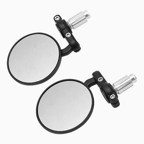 Rear View Side Mirror Round Bar End Convex Motorcycle Mirror for 7/8  Handle Bars Fits For Most Harley Suzuki Honda Kawasaki