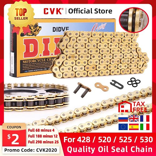 CVK High Quality Motorcycle O-ring Oil seal Chain Sets For 428 DID chain 136 Link 520 525 530 chains 120 Links with Facotry Sale