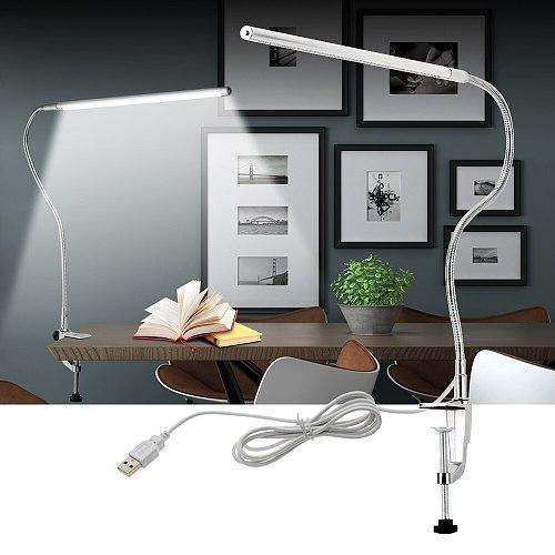 Long Arm Table Lamp 48 LEDs Clip Mounted Office LED Desk Lamp USB Flexible Gooseneck Eye-protection Reading Lamps for Work Study