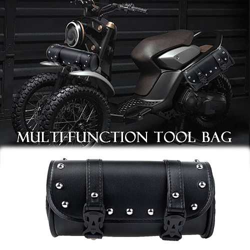 High Quality Synthetic Leather Motorcycle Cruiser Tool Bag Fork Barrel Shape Handlebar Front Fork Bag Black Weather Proof#BL1