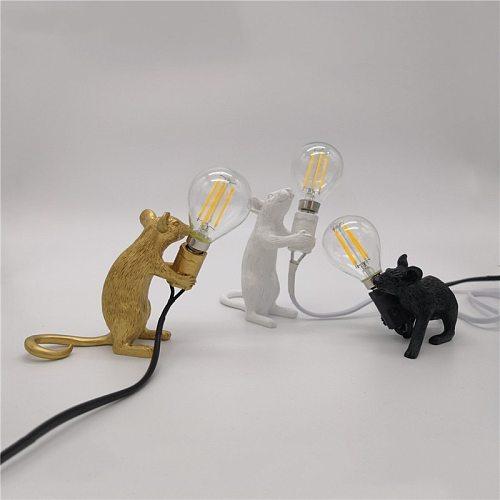 Nordic Resin Animal Rat Mouse Table Lamp Small Mini Mouse Cute LED Night Lights Home Decor Desk Light Fixtures Bedside Luminaire