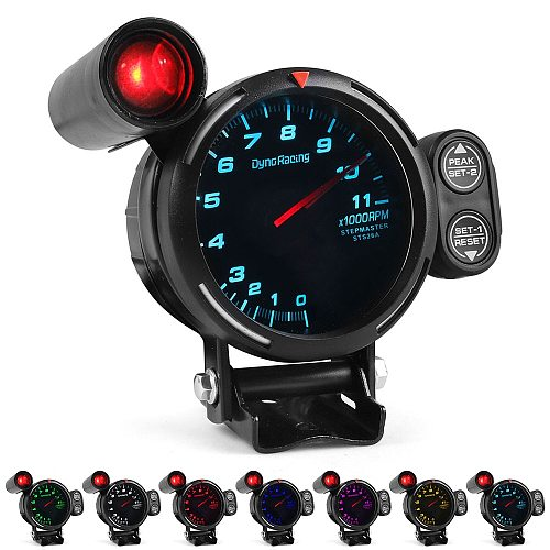 Dynoracing 80MM High Speed stepper motorTachometer  Gauge 7 Colors 0-11000 RPM Meter With Shift Light  TT101504
