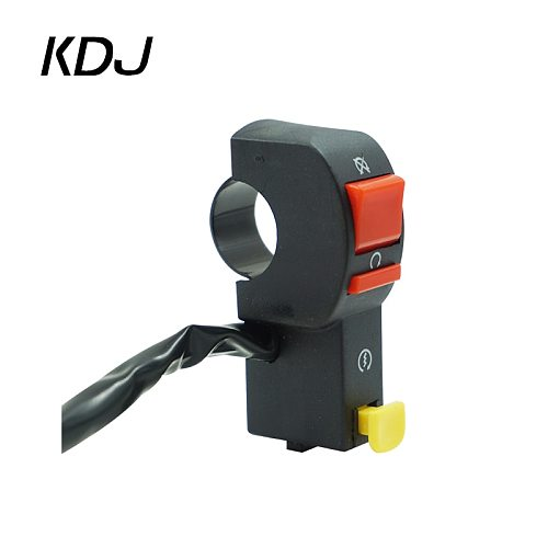 Motorcycle Switch 22mm 7/8  Handlebar Electric Starter Start & Stop ATV ON/OFF Button Flameout with 4 Wire Connection