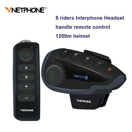 V8 BT Bluetooth Motorcycle Helmet Intercom 1200M for 5 Riders Interphone Headset Remote Control FM  radio