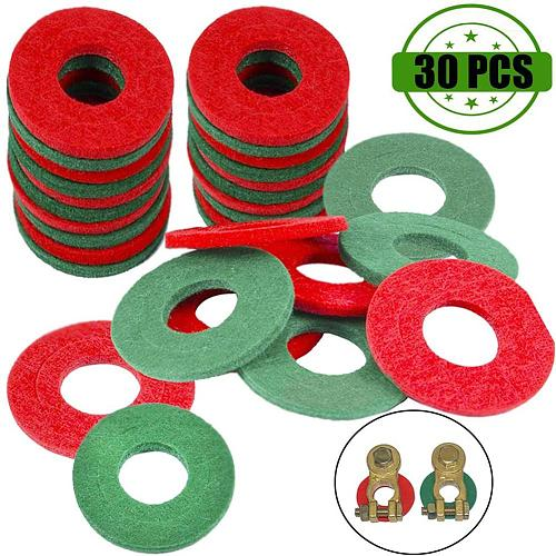 30 pcs Battery Terminal Anti Corrosion Fiber Washers Battery Terminal Protector Pads Automobile Fiber Washers Green/Red