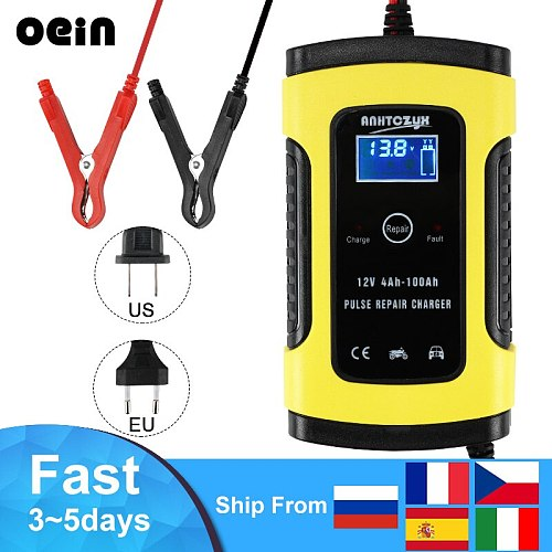 12V Full Automatic Car Battery Charger 6A Power Pulse Repair Chargers  Battery-chargers Wet Dry Lead Acid Digital LCD Display