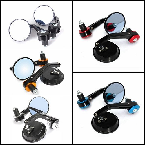 1Pair Universal 7/8  Round Bar End Rear Mirrors Moto Motorcycle Motorbike Scooters Rearview Mirror Side View Mirrors