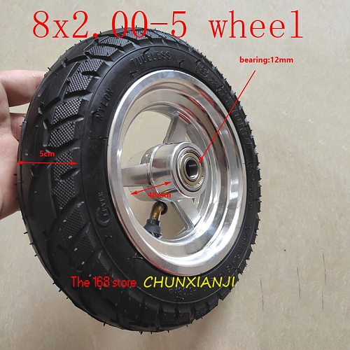 High quality 8x2.00-5tubeless wheel DIY 8*2.00-5 vacuum wheel with alloy hub for KUGOO S1 S3 Electric Adult Scooter