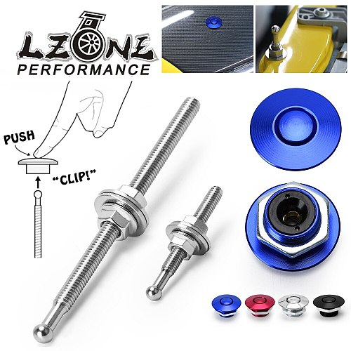LZONE - 1.25  Universal JDM Style Push Button Billet Hood Pins Lock Clip Kit Car Quick Pins For BMW ec JR-HPL04/05