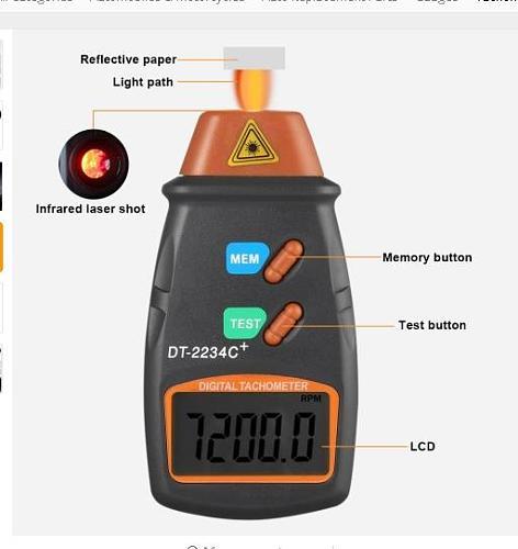 Digital Laser Photo Tachometer Non Contact RPM Tach Digital Laser Tachometer Speedometer Speed Gauge Engine Dropship No Ads