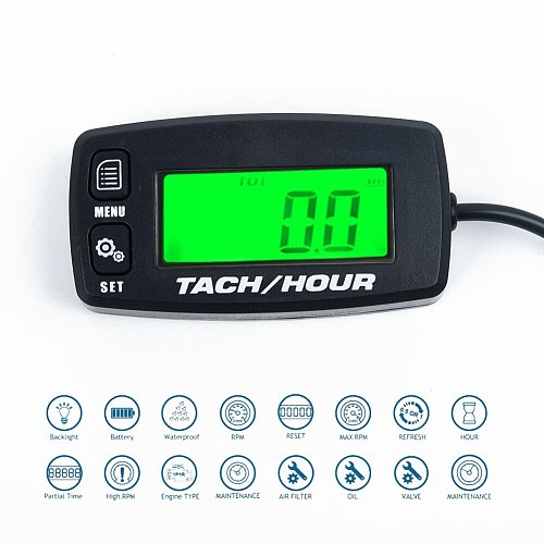 New Waterproof Backlit Digital Tach Hour Meter Tachometer 2/4 Stroke Engines Inductive Display for car accessories tachometer