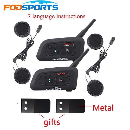 2PCS Fodsoprts V6 Pro Motorcycle Bluetooth Helmet Headsets Intercom for 6 riders BT Wireless intercomunicador Interphone MP3 GPS