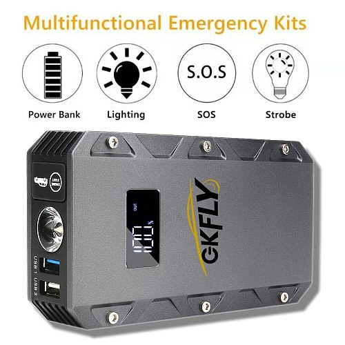 GKFLY 1500A 12V Car Jump Starter Power Bank Starting Device Diesel Petrol Car Battery Charger Auto Start Battery Car Charger LED