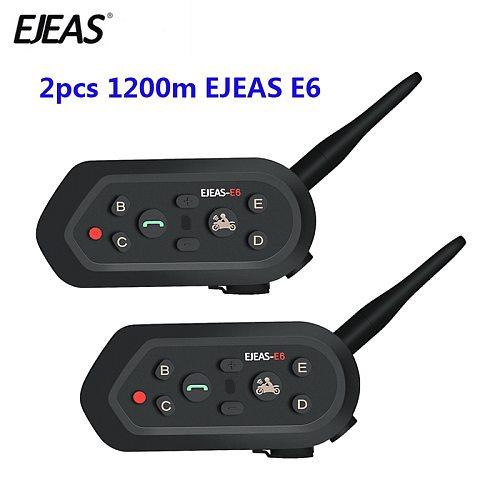 2 pcs EJEAS E6 Multifunctio Motorcycle Intercom VOX BT Headset Helmet Interphone Bluetooth Intercom for 6 Riders 1200M Communica
