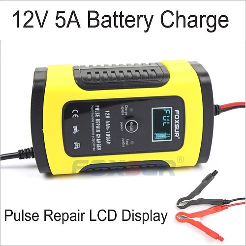 Full Automatic Car Battery Charger 12V 6A Intelligent Fast Power Charging Wet Dry Lead Acid Digital LCD Display Pulse Repair