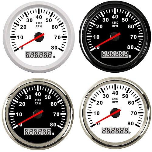 85mm Boat Tachometer 3000,4000,6000,8000 RPM Tachometer Car Marine Tacho Meter Gauge with Hourmeter 12V/24V toerenteller