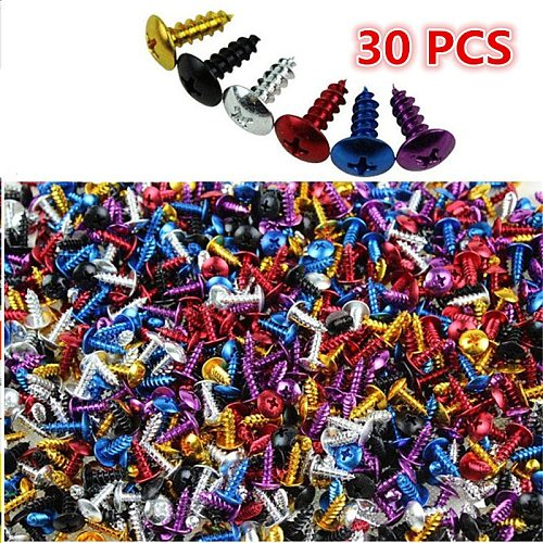 30 PCS 2CM length colorful dirt pit bike bolts kit fastener clips screw motocross accessories motorcycle screw decal universal parts colorful decoration motorbike frame fixed screws scooter Nuts Bolts moto tip screws